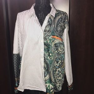 Zara Stiped Paisley Chain Buckle Button Up